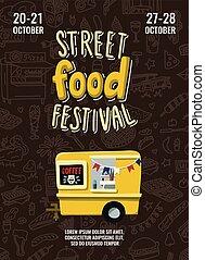mód, élelmiszer, poszter, ddodles, gyorsan, kéz, fesztivál, utca, csereüzlet, felszín, háttér, húzott, lettering., karikatúra