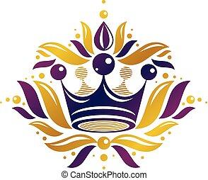 mód, ősi, illustration., királyi, címertani, fejtető, logotype, elszigetelt, háttér., vektor, tervezés, retro, fehér, logo., element.