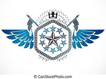 mód, alkotott, szárnyas, szüret, fejtető, címke, ötszögű, vektor, tervezés, retro, csillaggal díszít, használ, császári, element.