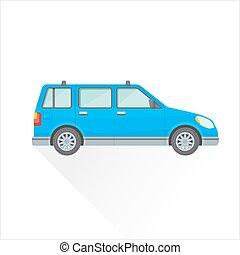 mód, autó, test, tehervagon, kék, ábra, ikon, vektor, lakás