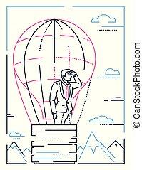 mód, balloon, -, ábra, tervezés, üzletember, egyenes