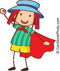 mód, betű, kéz, szórakozottan firkálgat, kalap, húzott, karikatúra, leány, fárasztó
