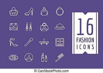 mód, bevásárlás, ikonok, set., ábra, e-commerce, vektor, symbols., határfelület, alapismeretek, részvény