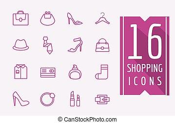 mód, bevásárlás, illustration., ikonok, set., e-commerce, vektor, symbols., határfelület, alapismeretek, részvény