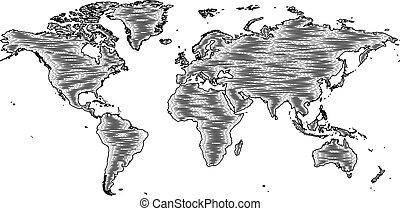 mód, bevésett, öreg, fametszet, rajz, világ térkép