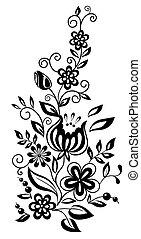 mód, black-and-white, leaves., elem, tervezés, retro, virágos, menstruáció