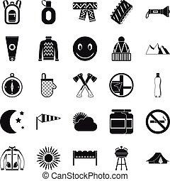 mód, család sátortábor, ikonok, állhatatos, egyszerű