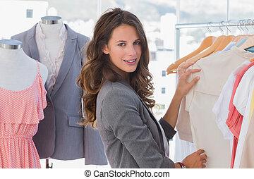 mód, eldöntés, öltözék, nő