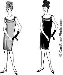 mód, elegáns, 1960's, öltözött, ruhaanyag, retro, style:, fél, woman., ruha, leány