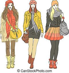 mód, elegáns, lány, meleg, vektor, öltözék