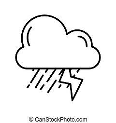 mód, elektromos, felhő, egyenes, időjárás, ikon, megrohamoz