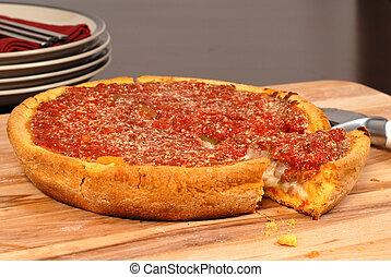mód, elvág, chicago, mély, pizza, tál, darab, ki