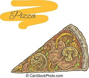 mód, elvág, színes, szüret, ábra, sketchy, szelet, pizza