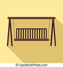 mód, erdő, bírói szék, lakás, hinta, ikon