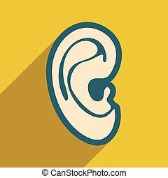 mód, fül, ikon, emberi, lakás