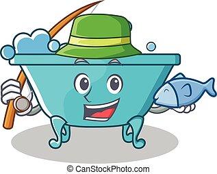 mód, fürdőkád, betű, halászat, karikatúra