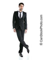 mód, fiatal, finom, hosszúság, tele, black öltöny, ember