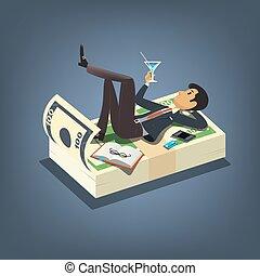 mód, fogalom, ügy, koktél, sikeres, bevétel, pénz., maradék, vektor, ábra, üzletember, ivás, karikatúra, csokor