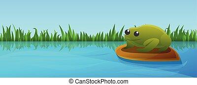 mód, fogalom, transzparens, tó, béka, zöld, karikatúra