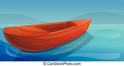 mód, fogalom, transzparens, tó, erdő, karikatúra, csónakázik