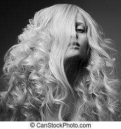mód, göndör, kép, hosszú, bw, szőke, hair., woman.
