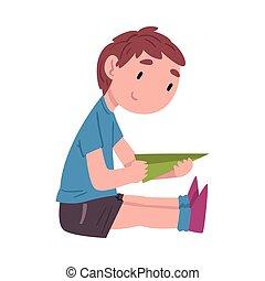 mód, gyermek, vektor, játék, fehér, fiú, csinos, papír repülőgép, karikatúra, ülés, elfoglaltság, napi, ábra, gyakorlat, háttér, emelet