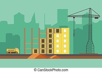 mód, háló, transzparens, épület, eljárás, szerkesztés, vektor, háttér., lakás