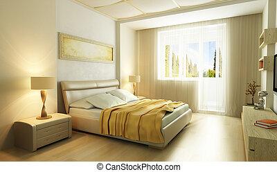 mód, hálószoba, modern, belső, 3