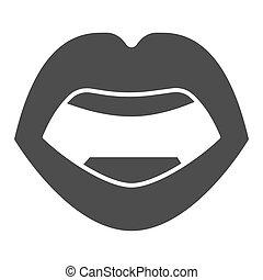 mód, háttér, ajkak, fehér, ikon, design., graphics., szilárd, vektor, fogalom, emberi hulla, ikon, mozgatható, fogalom, aláír, száj, szexi, háló, nyílik, glyph