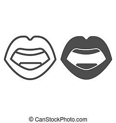 mód, háttér, ajkak, fehér, ikon, design., graphics., szilárd, vektor, fogalom, emberi hulla, ikon, mozgatható, fogalom, egyenes, aláír, áttekintés, száj, szexi, háló, nyílik