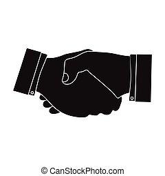 mód, handshake., jelkép, web., ábra, e-commerce, egyedülálló, vektor, fekete, ikon, részvény