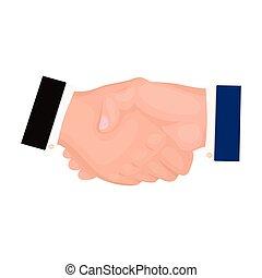 mód, handshake., jelkép, web., ábra, e-commerce, egyedülálló, vektor, ikon, karikatúra, részvény