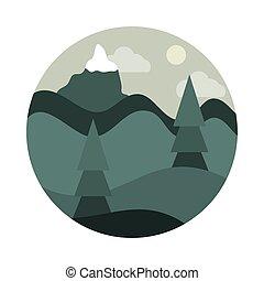 mód, hegy, színpadi, havas, nap, bitófák, ikon, táj, lakás, sóvárog, természet