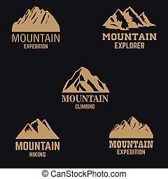 mód, hegy, tervezés, jel, embléma, cégtábla., címke, ikonok, elszigetelt, állhatatos, sötét, alapismeretek, arany-, háttér.