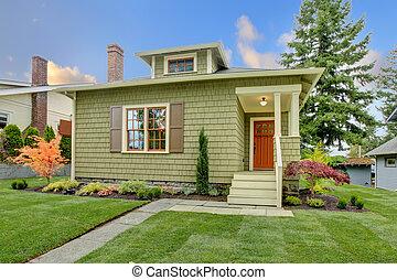 mód, helyreállított, house., zöld, kézműves, kicsi
