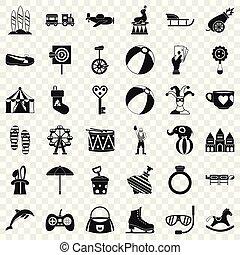 mód, ikonok, állhatatos, cirkusz, egyszerű, móka