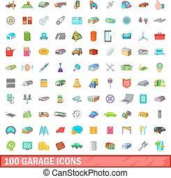 mód, ikonok, állhatatos, garázs, 100, karikatúra
