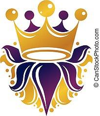 mód, illustration., királyi, címertani, fejtető, logotype, elszigetelt, háttér., vektor, tervezés, retro, választékos, fehér, logo., element.