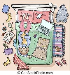 mód, image., leány, bepiszkít, nagy tető, bed., nézet., home., komikus, procrastinating