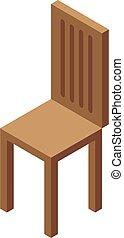 mód, isometric, fa szék, ikon
