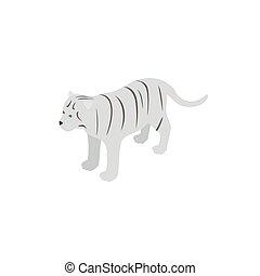 mód, isometric, tiger, ikon, fehér, 3