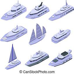 mód, jacht, állhatatos, isometric, ikonok