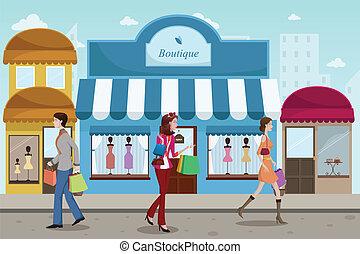 mód, külső, bevásárlás, emberek, butik, francia, fedett sétány