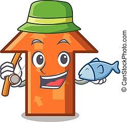 mód, kabala, karikatúra, nyíl, halászat