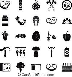 mód, kempingezés, ikonok, állhatatos, egyszerű, elgáncsol