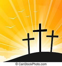 mód, keresztbe tesz, húsvét, három