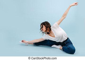 mód, kortárs, modern, fél, táncos, lepke, ülés