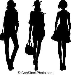 mód, lány, vektor, tető, mintaképek, árnykép