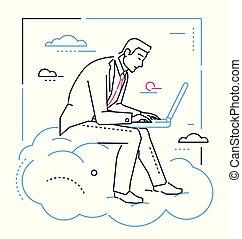 mód, laptop, -, ábra, tervezés, üzletember, egyenes