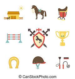 mód, lovaglási, ló, ikonok, lakás